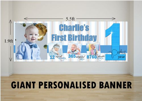 Personalised GIANT Large Boys 1st First Happy Birthday PHOTO Poster Banner N62 One Perfect Year